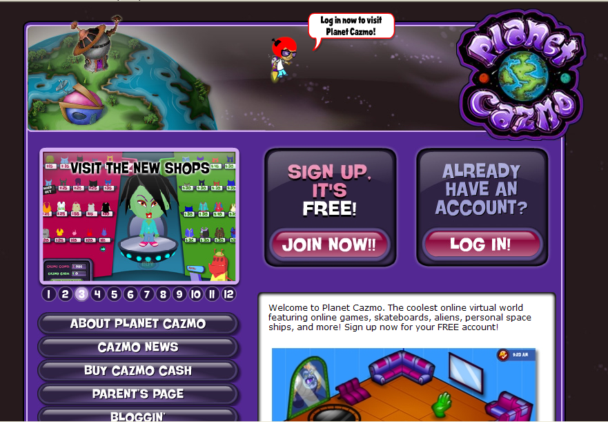 planet cazmo new homepage